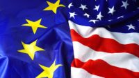 EU flag and American flag background