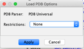 Confirm the PDB load options by clicking 'Apply'