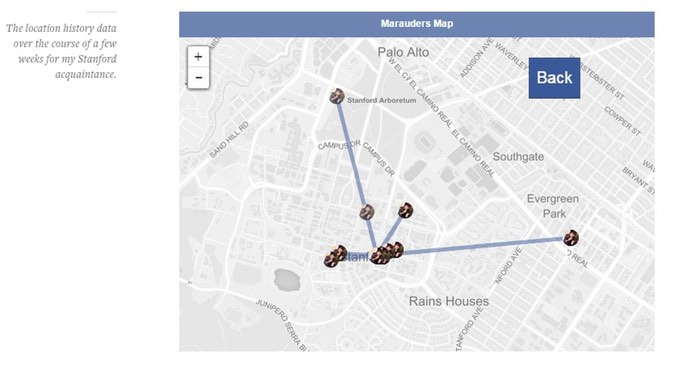 Location data of Stanford student