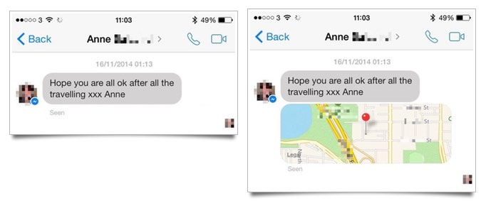Facebook Messenger map info
